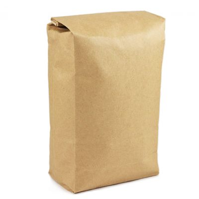 Plain brown paper bag with a tin-tie closure at the top, filled with roasted coffee