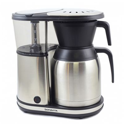 The Bonavita Electric Coffeemaker is stainless steel with black plastic components and a clear plastic water tank
