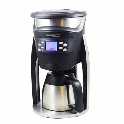 The Brazen Plus 2.0 Brewer by Behmor is made of stainless steel and BPA-free black plastic with an electronic display