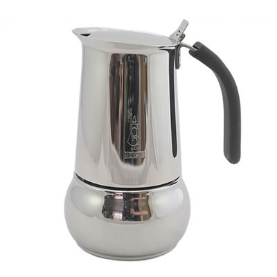 The Bialetti Musa Moka Pot has a stainless steel body with a black silicone handle and a hinged lid