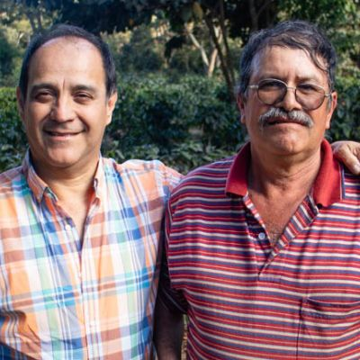 That's Chepe on the right, at his coffee farm in San Martin Jilotepeque, during a visit last February. The coffee in the highest part of the farm was still ripening when we were there. Chimaltenango, Guatemala.
