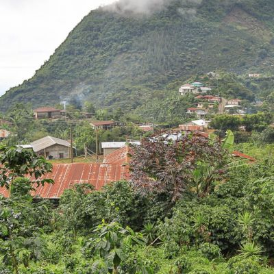 The steep, mountainous terrain climbs high in altitude in this La Libertad coffee community. Huehuetenango, Guatemala.