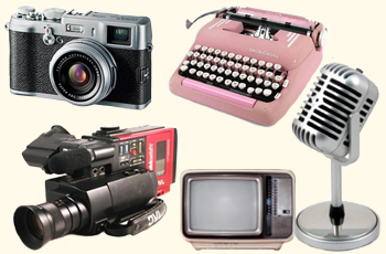 Retro cameras, TV and microphone
