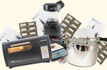 Collage with coffee roasting equipment