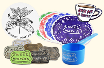 Sweet Maria's coasters, pins, etc.